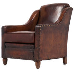 French Vintage Leather Armchair