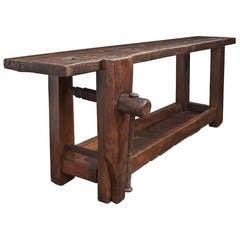 19th C. French Antique Chestnut Workbench