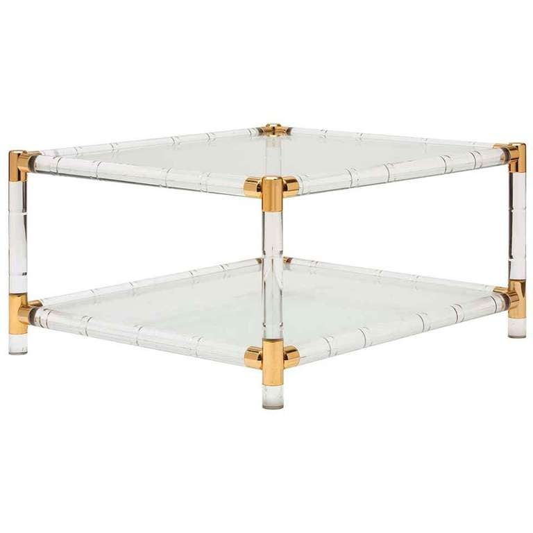 841053 for Lucite and brass coffee table