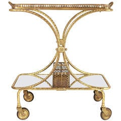 Fine Italian Art Deco Brass Bar Cart