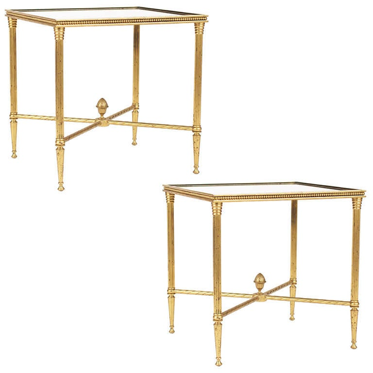 French Maison Bagues Pair of Gilt Brass Side Tables