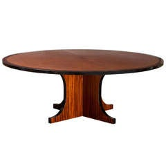 Spanish Leather Top Round Dining Table by Valenti
