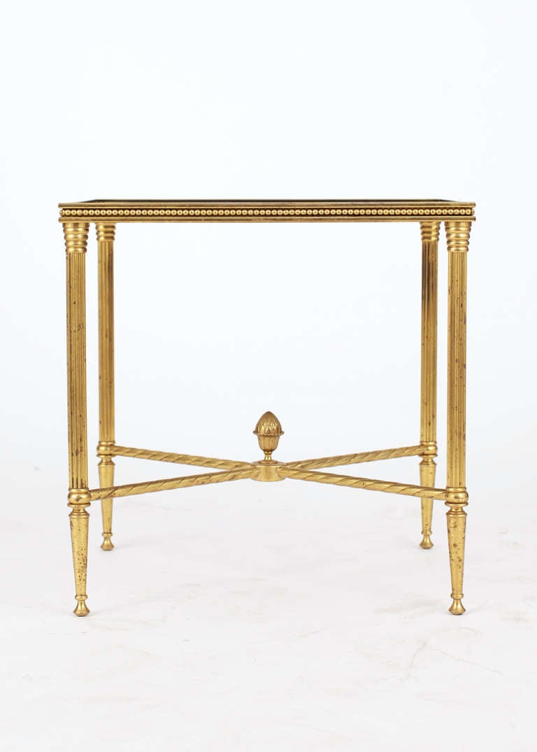 French Maison Bagues Pair of Gilt Brass Side Tables In Good Condition In Austin, TX