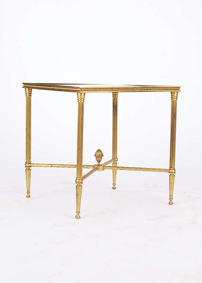 Mid-20th Century French Maison Bagues Pair of Gilt Brass Side Tables