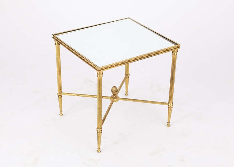 Mirror French Maison Bagues Pair of Gilt Brass Side Tables