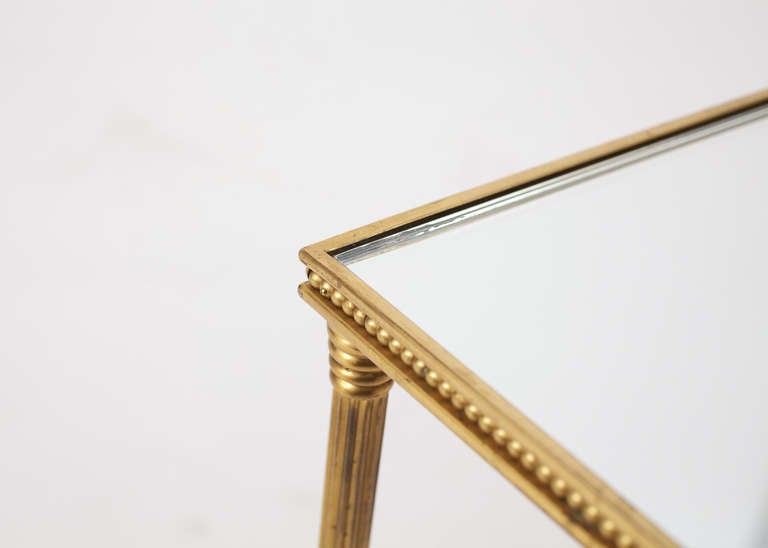 French Maison Bagues Pair of Gilt Brass Side Tables 1