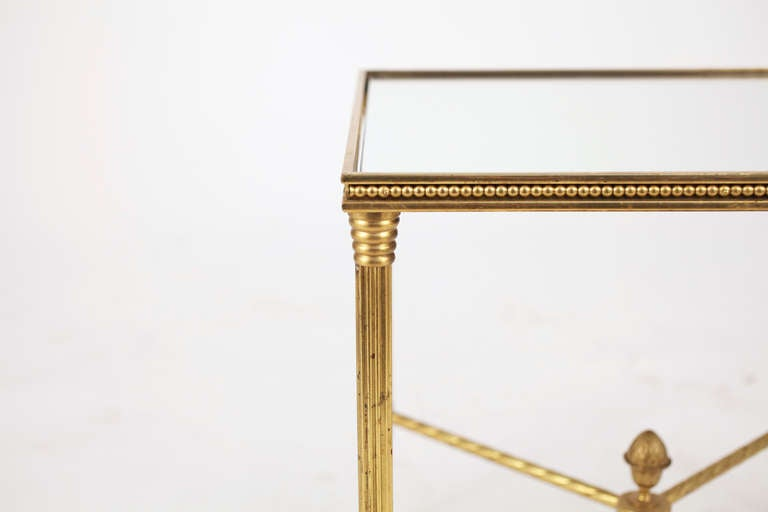 French Maison Bagues Pair of Gilt Brass Side Tables 2