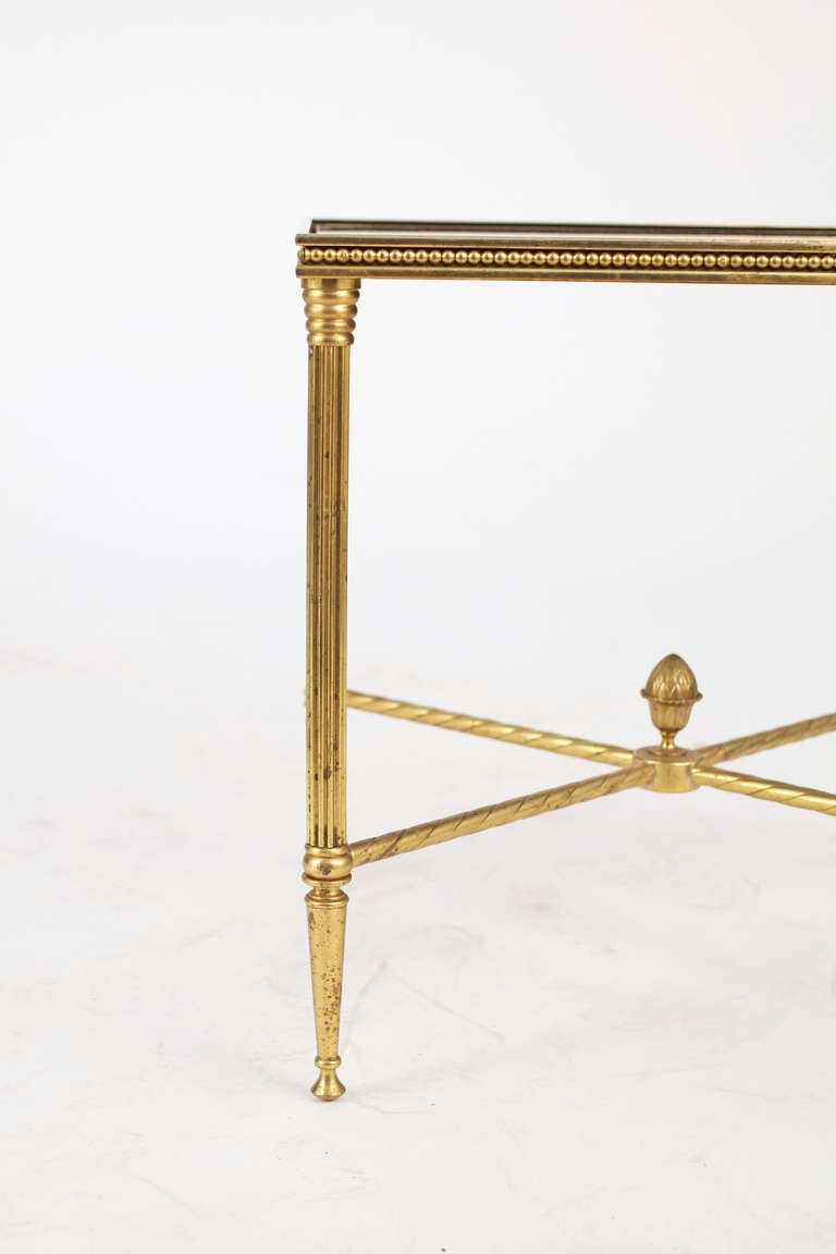 French Maison Bagues Pair of Gilt Brass Side Tables 3