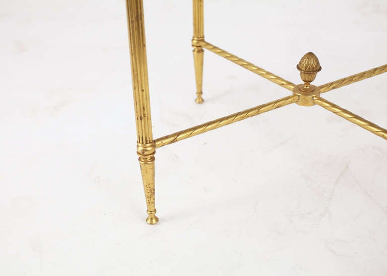 French Maison Bagues Pair of Gilt Brass Side Tables 5