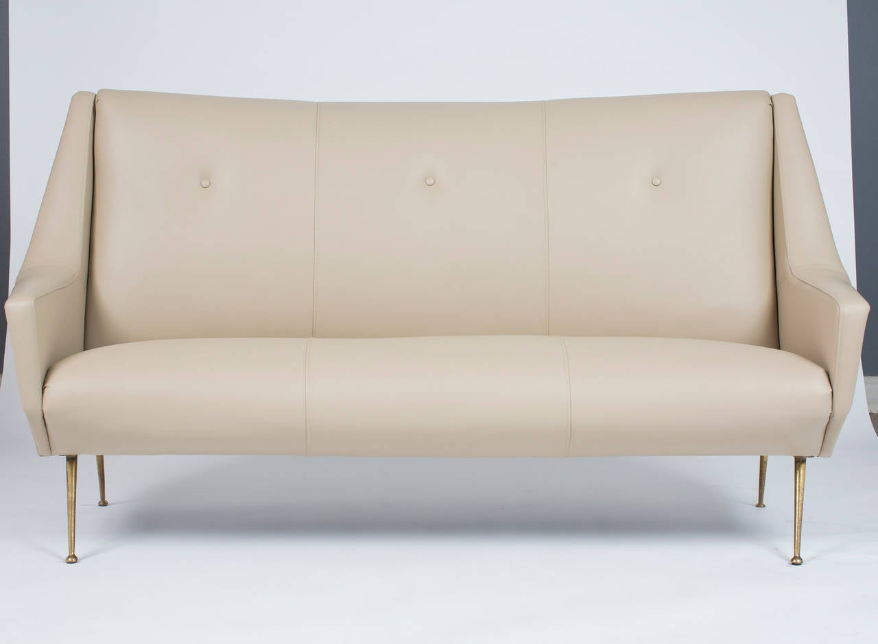 Italian mid century modern leather sofa in the manner of for Mid century modern leather sofa