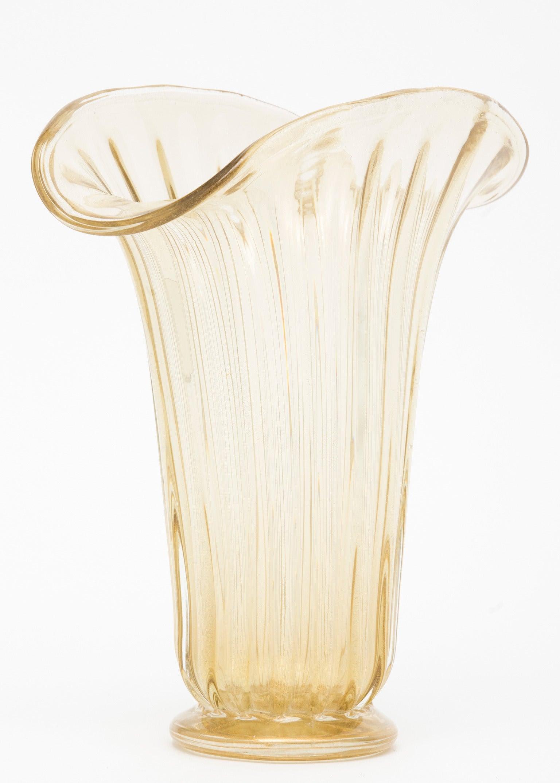 """Murano """"Avventurina"""" Glass Vase"""