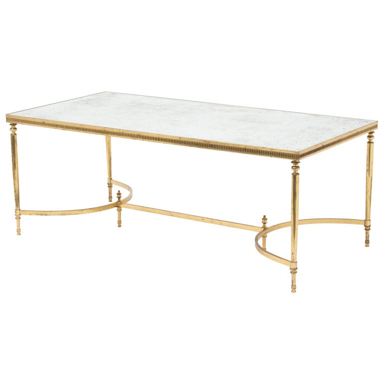 Grand Art Deco Brass And Mirror Coffee Table At 1stdibs