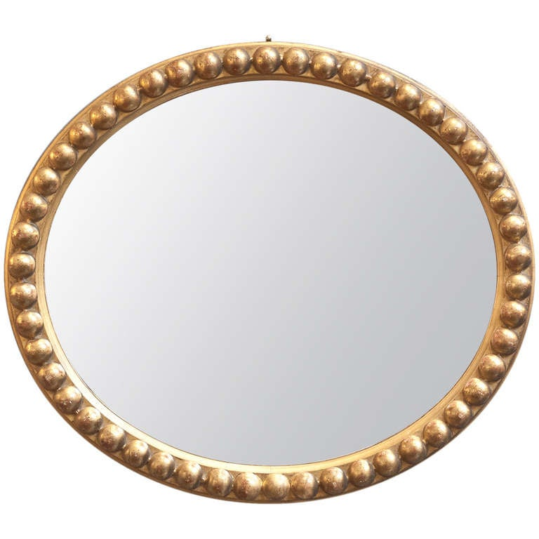 Antique Gold Leaf Oval Mirror at 1stdibs