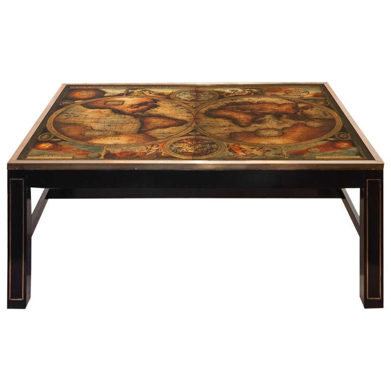Vintage World Map Coffee Table By Maison Jansen For