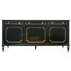 French Louis XVI Marble Top Sideboard Buffet