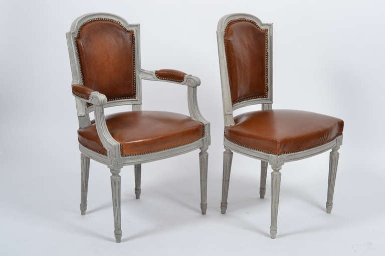 louis xvi set of leather dining chairs signed maison. Black Bedroom Furniture Sets. Home Design Ideas