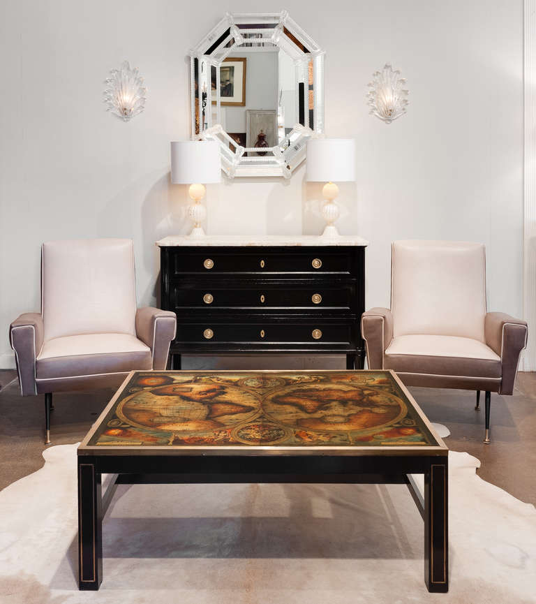 Coffee Table With Map Drawers: Vintage World Map Coffee Table By Maison Jansen At 1stdibs