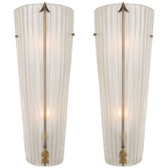 Pair of Murano Glass Sconces with Brass Arrows