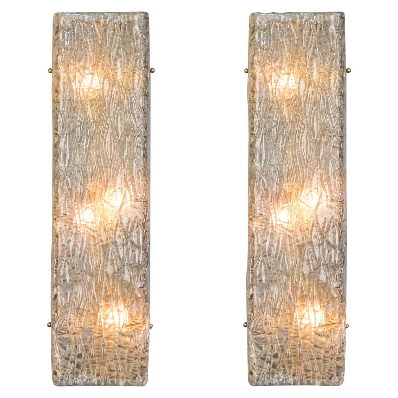 Nice Pair Of Murano Glass Wall Sconces For Sale