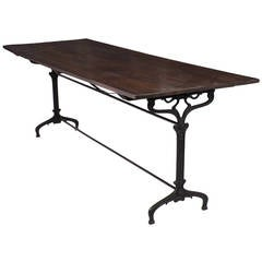 Antique Cast Iron Bistro Table with Fir Top