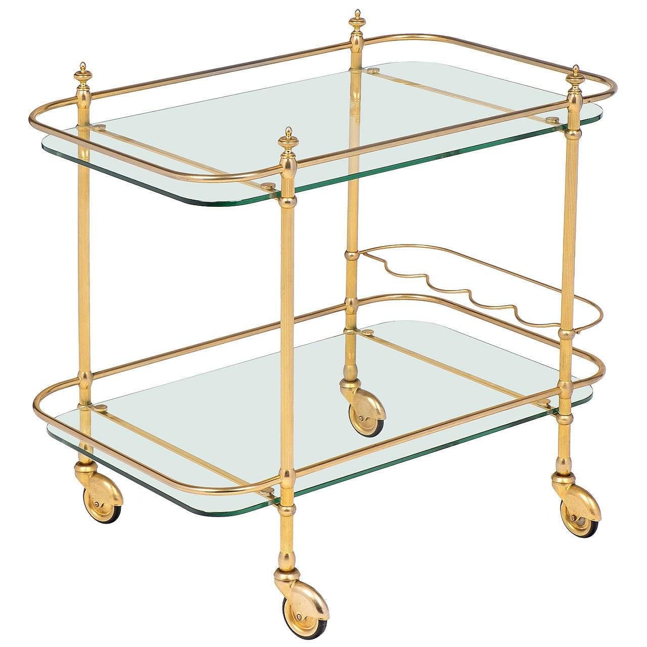 French Art Deco Gilt Brass Bar Cart At 1stdibs