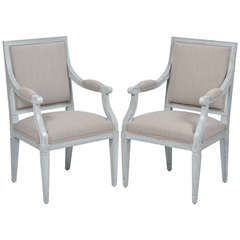 Pair of French Louis XVI Gray Linen Armchairs