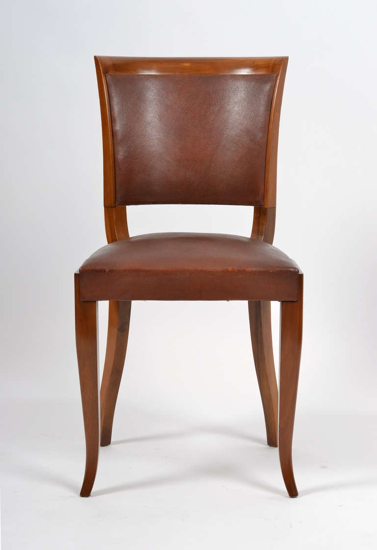 French Art Deco Set of Walnut and Leather Dining Chairs at  : 14C43leatherwooddiningchairscl from www.1stdibs.com size 768 x 1120 jpeg 40kB