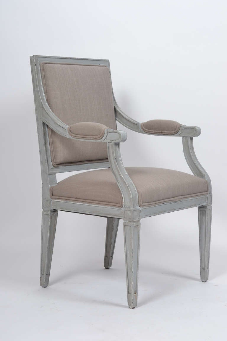 Pair Of French Louis XVI Gray Linen Armchairs For Sale At 1stdibs