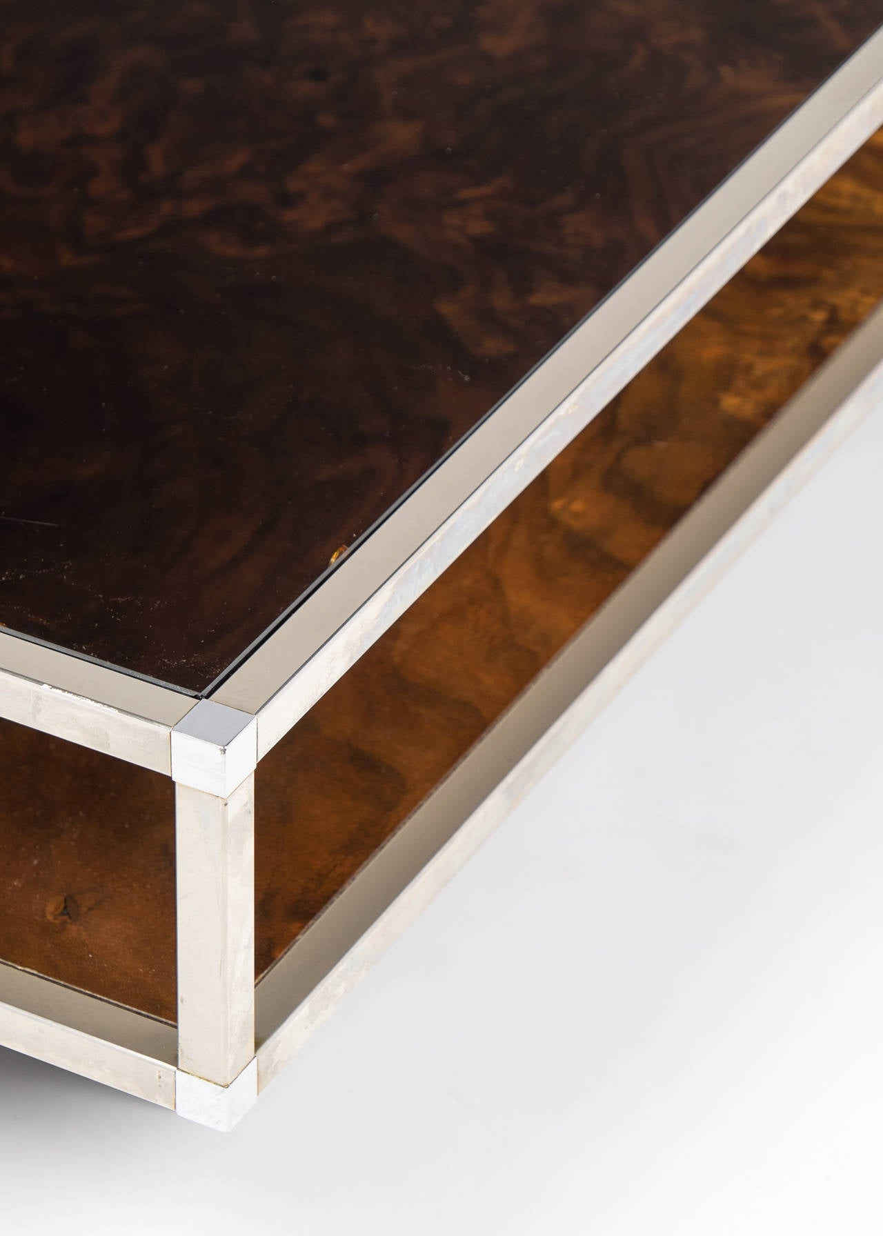 French Vintage Chrome And Burled Walnut Coffee Table At 1stdibs