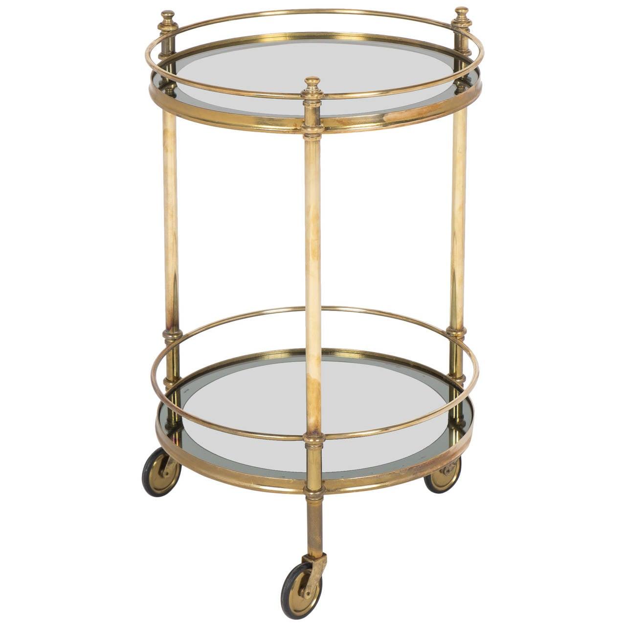 french vintage round brass bar cart at 1stdibs. Black Bedroom Furniture Sets. Home Design Ideas