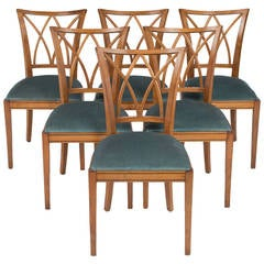 French Vintage Set of Six Dining Chairs