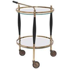 Italian Art Deco Circular Bar Cart by Cesare Lacca
