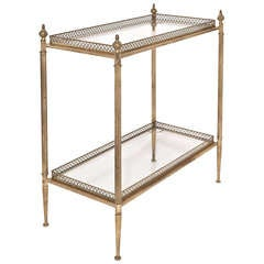 French Vintage Brass & Glass Tray Table