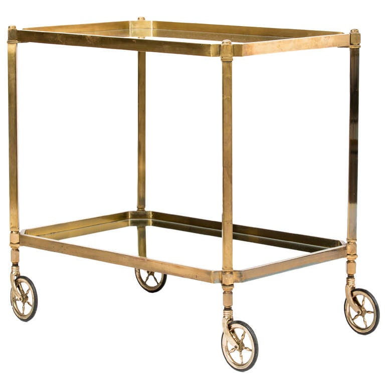 French Art Deco Brass And Mirror Bar Cart At 1stdibs