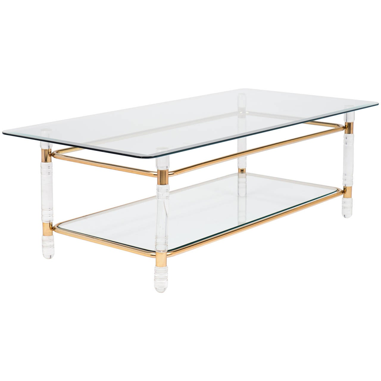French vintage lucite and gilt brass coffee table at 1stdibs for Lucite and brass coffee table