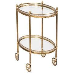 French Vintage Oval Brass & Glass Bar Cart