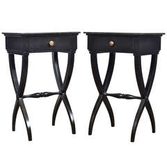 Pair of French Directoire Marble-Top Side Tables