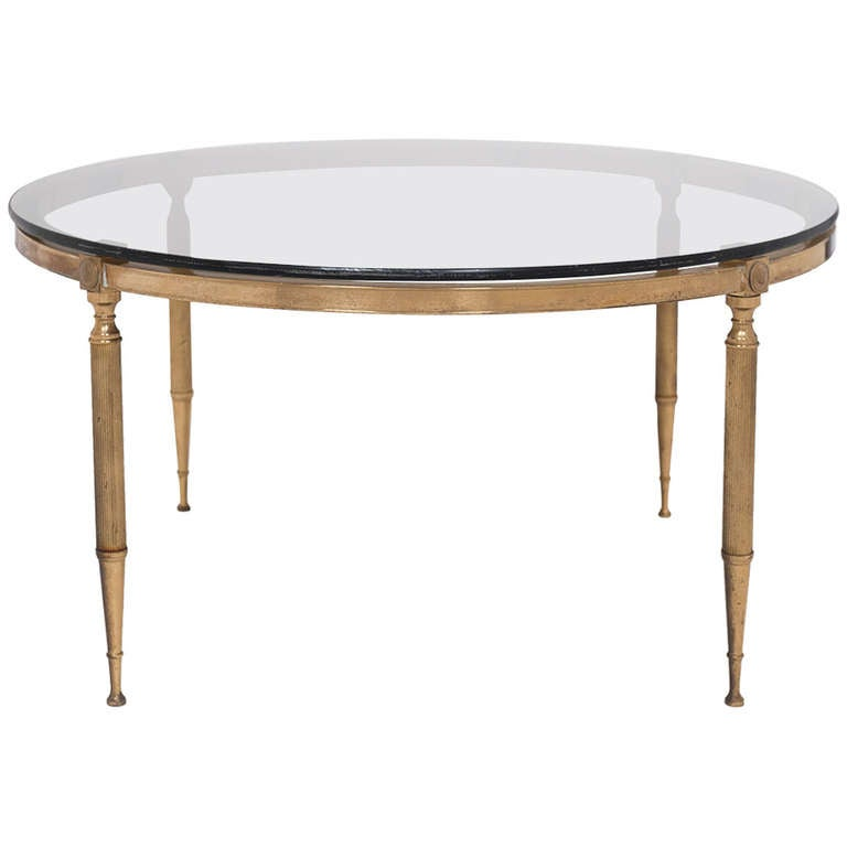 French vintage smoked glass and brass coffee table at 1stdibs for French glass coffee table