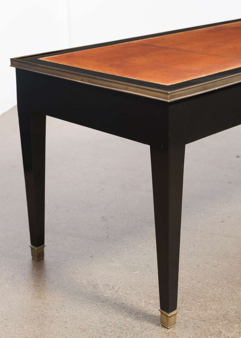French Directoire Leather Top Coffee Table At 1stdibs