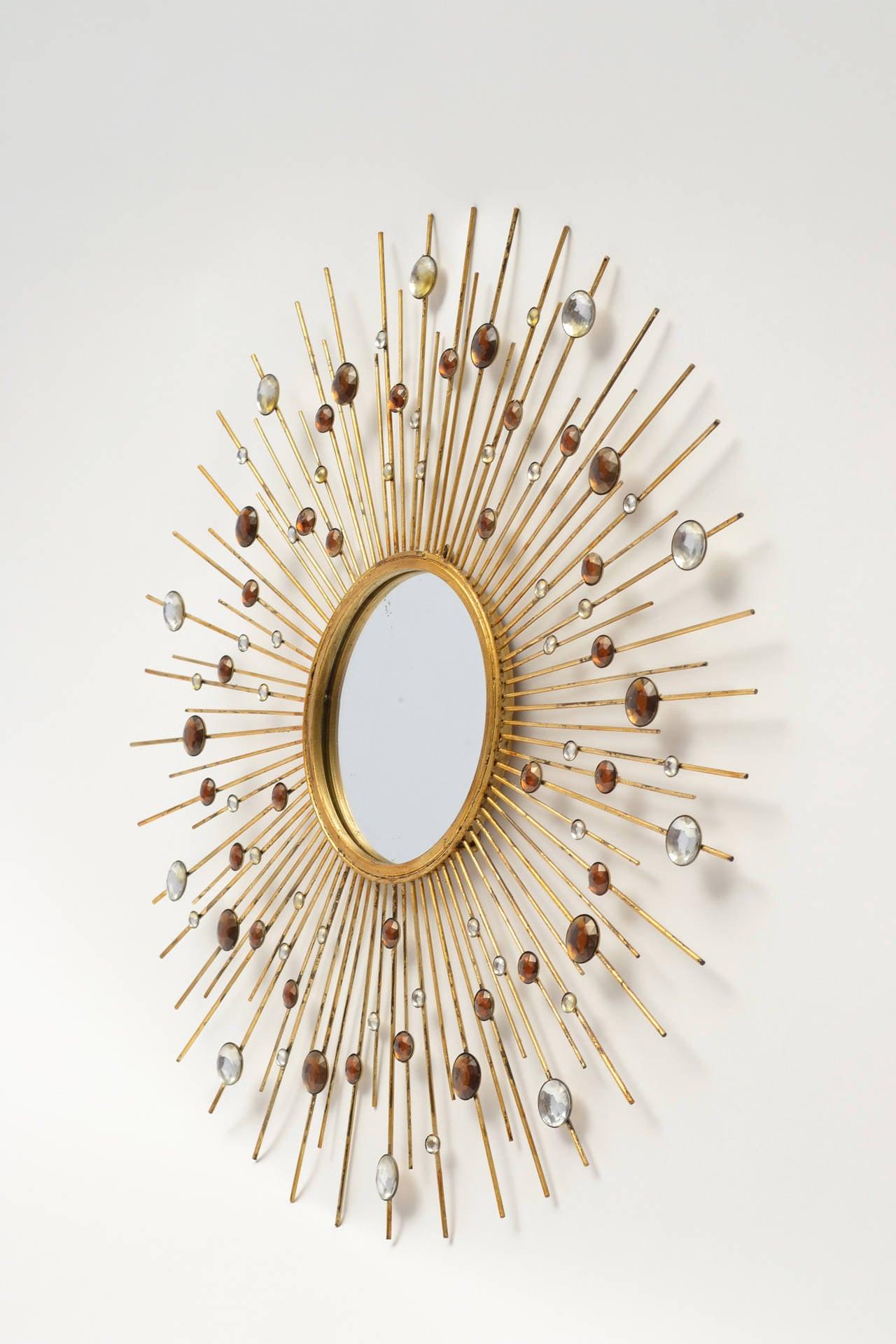 Gold leaf iron sunburst mirror with gemstones at 1stdibs for Sunburst mirror