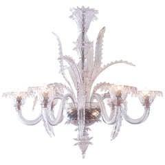 Vintage Pale Amethyst Murano Glass Chandelier