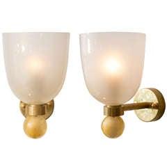 "Pair of Murano ""Avventurina"" Glass Sconces"