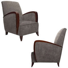 French Art Deco Pair of Armchairs