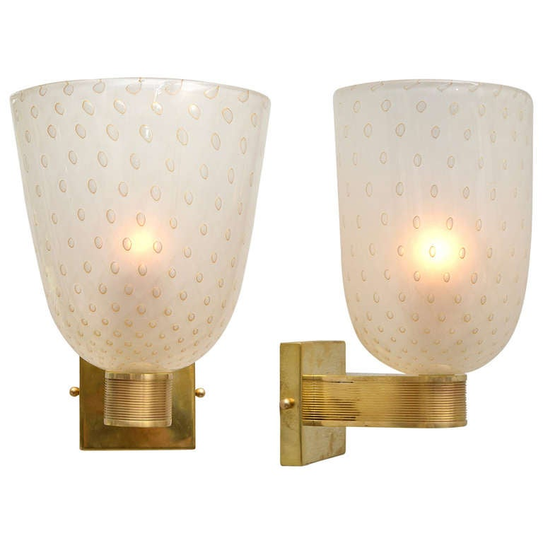 "Pair of Murano ""Pulegoso"" Glass and Brass Sconces"
