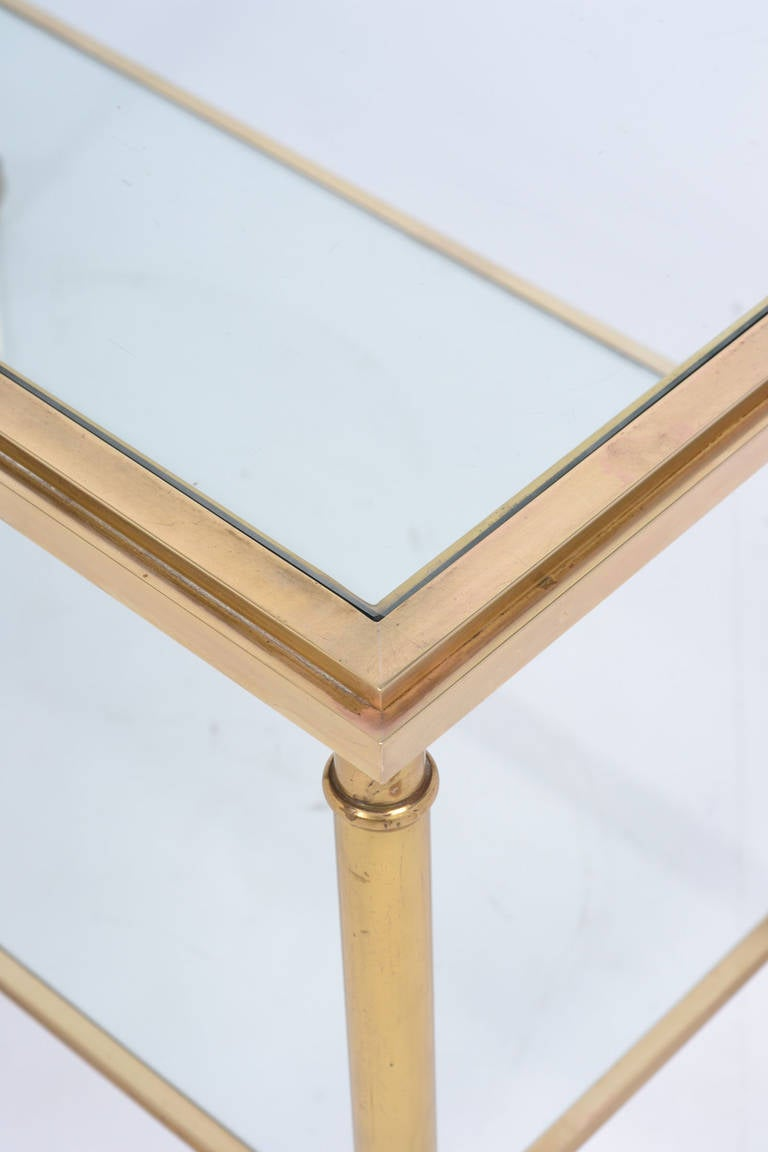 French Vintage Solid Gilt Brass Side Table On Casters For