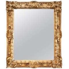 Monumental Carved Wood Georgian Mirror