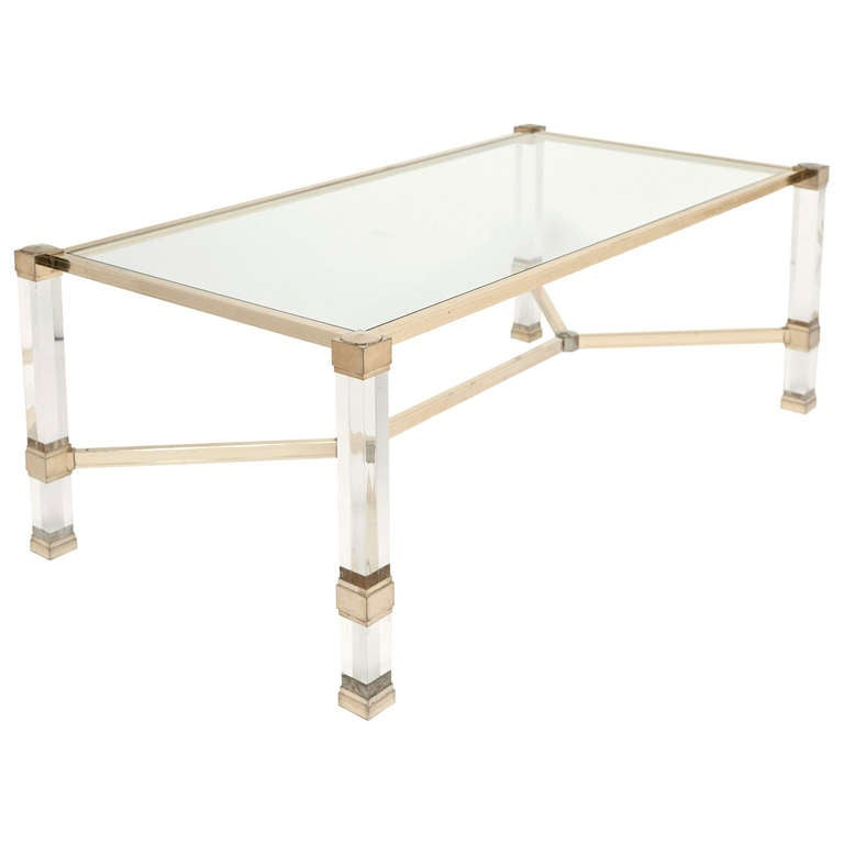 Pierre Vandel Lucite Coffee Table At 1stdibs