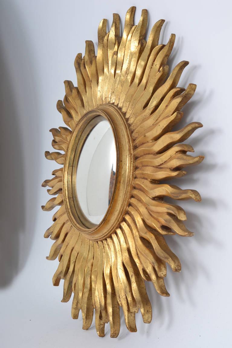 Vintage Gold Leaf Convex Sunburst Mirror At 1stdibs