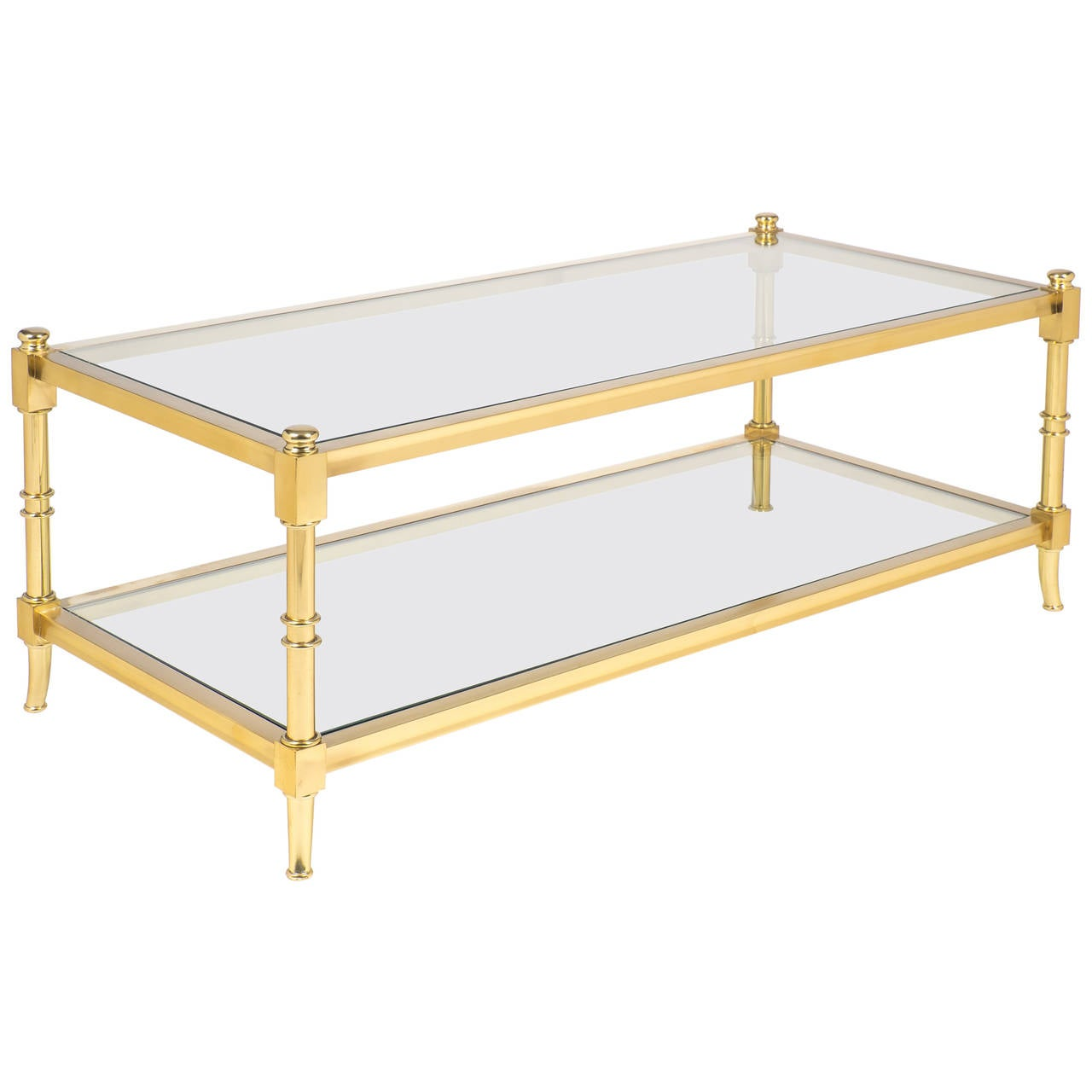 French vintage gilt brass coffee table by maison raphael at 1stdibs Antique brass coffee table