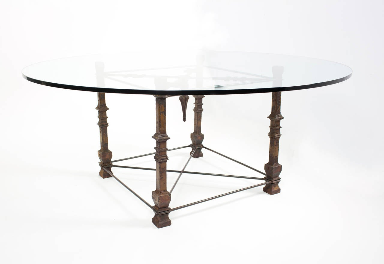 Antique forged iron dining table with glass top at 1stdibs for Forged iron table base